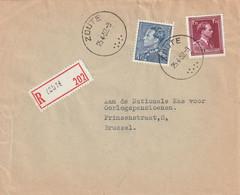Poortman + Open Kraag Op Aangetekende Briefvoorzijde / Devant De Lettre ZOUTE 1952 - 1936-1951 Poortman