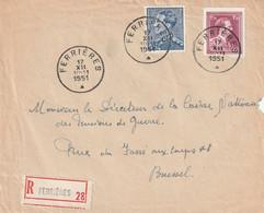 Poortman + Open Kraag Op Aangetekende Briefvoorzijde / Devant De Lettre FERRIERES 1951 - 1936-1951 Poortman