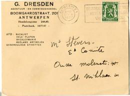 1937 1 Plikart(en) - Postkaart(en) - Zie Zegels, Stempels, Hoofding G. DRESDEN Antwerpen - Agent BACALIET - VELOPLATEN - 1929-1937 Heraldic Lion