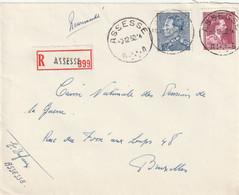 Poortman + Open Kraag Op Aangetekende Briefvoorzijde / Devant De Lettre ASSESSE 1952 - 1936-1951 Poortman