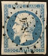 YT 14Af 20c Bleu Laiteux LPC 1824 Macon Saône-et-Loire TTB (°) Obl 1853-60 (12+1,4 Euros) – Ciel - 1853-1860 Napoléon III