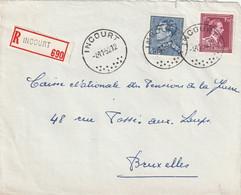 Poortman + Open Kraag Op Aangetekende Briefvoorzijde / Devant De Lettre INCOURT 1952 - 1936-1951 Poortman