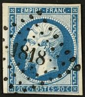 YT 14B (°) Obl LPC 1818 Lyon Rhone 1853-60 Napoléon III Type II (6 Timbre +1,4 Euros) – Ciel - 1853-1860 Napoléon III