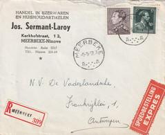 Poortman + Open Kraag Op Aangetekende Expres Brief / Lettre MEERBEKE 1957 - 1936-1951 Poortman