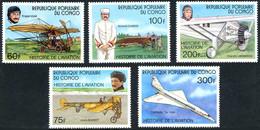 Congo Brazzaville République 1977 Vuia I, Blériot XI, Morane-Saulnier N, Ryan NYP, Tupolev Tu-144, Garros, Lindbergh - Aerei