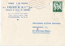 1960 1 Plikart(en) - Postkaart(en) - Zie Zegels, Stempels, Hoofding DIERICK & Cie - Deinze - Fabrique Jouets - Speelgoed - Covers & Documents