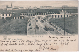 SWITZERLAND - Gruss Aus Basel.  Prov. Bahnhof S.B.B. VG Postmarks 1902 - Undivided Rear - BS Bâle-Ville