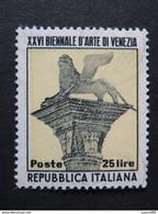 """ITALIA Repubblica - 1952- """"Biennale""""  £. 25 Varieta' Fil Lettere 10/10 MNH** (descrizione) - 1946-60: Nieuw/plakker"""