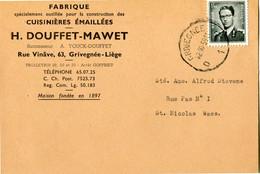 1959 1 Plikart(en) - Postkaart(en) - Zie Zegels, Stempels, Hoofding H. DOUFFET MAWET - Fabique Cuisinières Grivegnée Liè - Covers & Documents