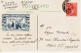 """Grande Bretagne, De Wilbedom En 1908 , Vignette De """"franco British Exhibition """" - Storia Postale"""