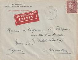 Brief EXPRES 3,25 Fr. Poortman Van KORTRIJK Naar Brussel - 1936-1951 Poortman