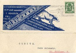1938 1 Plikart(en) - Postkaart(en) - Zie Zegels, Stempels, Hoofding G. DE GOMME Penselen Borstels Antwerpen - DAS Foto - 1935-1949 Small Seal Of The State