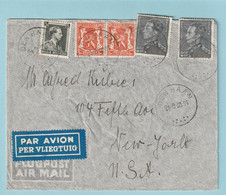 Brief Met 2 X 2,45 Fr. Poortman Van DEN HAAN Naar NEW-YORK - 1936-1951 Poortman