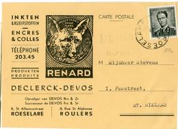 1958 1 Plikart(en) - Postkaart(en) - Zie Zegels, Stempels, Hoofding DECLERCK DEVOS - Inkt Lijm  Roulers Roeselare RENARD - Covers & Documents