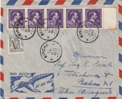 Brief Van BINCHE Naar Tsjecho-slowakije 1949 - 1936-1957 Open Collar