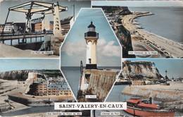 CPA 76 SAINT VALERY EN CAUX Multi Vues : Le Phare, Le Port, Vues Générales, Le Pont De L'Ecluse 1957 - Saint Valery En Caux