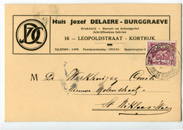 1939 1 Plikart(en) - Postkaart(en) - Zie Zegels, Stempels, Hoofding JOZEF DELAERE BURGGRAEVE - Kortrijk - Drukkerij - 1935-1949 Small Seal Of The State
