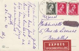 Postkaart EXPRES Van THUIN Naar BRUSSEL 1941 - 1936-1957 Open Collar