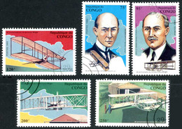 Congo Brazzaville République 1993 First Flight Wright 100 Years Wright Flyer I, III, Glider III, Orville, Wilbur - Airplanes