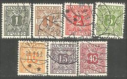 300 Denmark 1921-30 Taxe Postage Due 7 Differents (DMK-91) - Port Dû (Taxe)