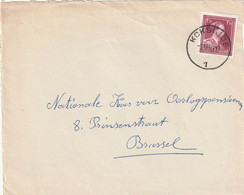 Briefvoorzijde - Devant De Lettre 1,75 Fr. Van KOKSIJDE Naar Brussel 1952 - 1936-1957 Open Collar