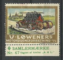 Dänemark Denmark Ca 1910 Feuerwehr V. Lowener Vignette Reklamemarke (*) - Bombero