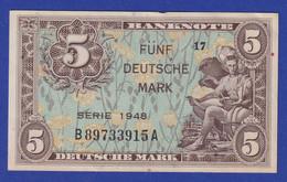 Banknote Deutschland  5 DEUTSCHE MARK SERIE 1948  #17 Leicht Gebraucht II - Sin Clasificación
