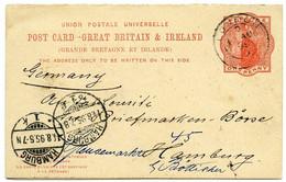 QV ONE PENNY : PRE-PRINTED REPLY POSTCARD, 1895 / ADDRESSES - HAMBURG, BRIEFMARKEN BORSE & LONDON, CLAPHAM COMMON - Postwaardestukken