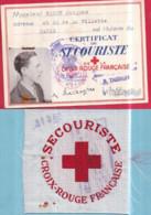 Guerre 1939-45 CROIX-ROUGE FRANÇAISE Carte De Secouriste Jacques BARON 1.7.1942 Et Centre De Brassard 8 X 8 Cm N° 11.362 - Rode Kruis