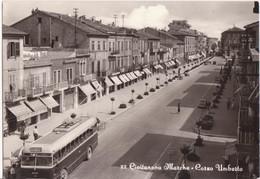 """CIVITANOVA MARCHE - CORSO UMBERTO I FILOBUS TROLLEY BUS - PASTICCERIA ROMANA - INSEGNA PUBBLICITA' """"GELOSO"""" - V1963 ROMA - Other Cities"""