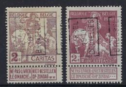 CARITAS 2 Zegels Voorafgestempeld Nrs. 1734 En 1736 Beiden In Positie A BRUSSEL 1911 BRUXELLES In Zéér Goede Staat ! - 1910-1911 Caritas