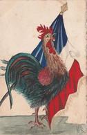 CPA Originale Peinte à La Main Aquarellée Patriotique Le Coq Gaulois Drapeau Tricolore - Patriotic