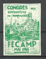 ESPERANTO 1948 Vignette Poster Stamp Congres Des Esperantistes De Normandie France Fecamp * - Esperánto