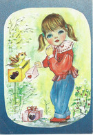 Macedonian Postcard ,Girl And Post Box - Kindertekeningen