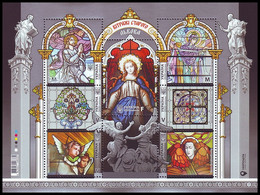 UKRAINE 2020. STAINED-GLASS WINDOWS OF OLD LVIV. Hologram. Mi-Nr. 1938-44 Block 173 MNH (**) - Christianity