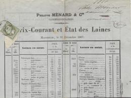 1868 - Circulaire ( Prix-courant Et état Des Laines ) Affr. N°19 SEUL  Oblit. Cad T15 De Marseille - 1849-1876: Klassieke Periode