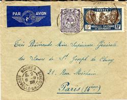 1938- Enveloppe De NOUMEA , Par Avion, Affr. à 5,15 F.  Pour Paris - Storia Postale