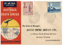 (GG 4) QANTAS Airways -Australia To South Africa Stamp Flight Opening (with 2 Mauritius Stamps) P/m 1952 - Primi Voli