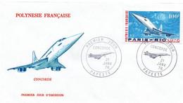 Concorde 1976 - FDC Papeete - Vol Paris-Rio - FDC