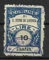 SAN STINO DI LIVENZA (venezia) 10 L. STAMPATI , MARCA DA BOLLO COMUNALE, REVENUE, MUNICIPAL STAMP. Rif.58 - Otros