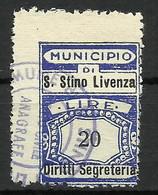 SAN STINO DI LIVENZA (venezia) 20 L. SEGRETERIA , MARCA DA BOLLO COMUNALE, REVENUE, MUNICIPAL STAMP. Rif.59 - Otros