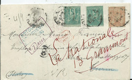 L.A.C. Au Départ De PARIS à Destination De TURIN - Retour A L' Envoyeur Affr. Type Sage - 1877-1920: Semi-moderne Periode