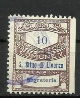 SAN STINO DI LIVENZA (venezia) 10 L. SEGRETERIA , MARCA DA BOLLO COMUNALE, REVENUE, MUNICIPAL STAMP. Rif.60 - Otros