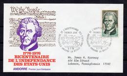 YT N° 255 / ANDORRE / FDC / ENVELOPPE 1er JOUR THOMAS JEFFERSON - Cartas