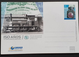 Tarjeta Entero Postal De ARGENTINA: 150 Años De Ferrocarril 2007 - Interi Postali