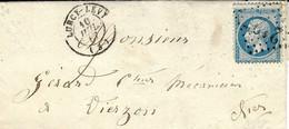 1867- Lettre De LURCY-LEVY ( Allier ) Cad T15 Affr. N°22 Oblit. G C 2127 - 1849-1876: Classic Period