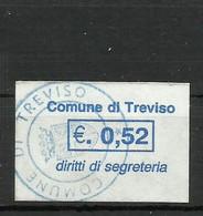 TREVISO 0,52 EURO SEGRETERIA  , MARCA DA BOLLO COMUNALE, REVENUE, MUNICIPAL STAMP. Rif.65 - Otros