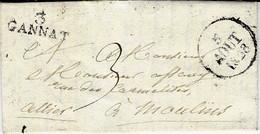 1828- Lettre De 3 / GANNAT  ( Allier ) 25 X 9 Mm Noir Taxe 3 D Pour Moulins - 1801-1848: Voorlopers XIX