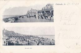 OOSTENDE - OSTENDE - FLANDRE OCCIDENTALE  - BELGIE - BELGIQUE -  VUE-DOUBLE CPA ANIMEE  1900 - AFFRANCHISSEMENT POSTAL. - Oostende