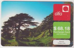 LEBANON - Barouk. Cedars Tree , Alfa Recharge Card 68.18$, Exp.date 30/10/11, Used - Libanon